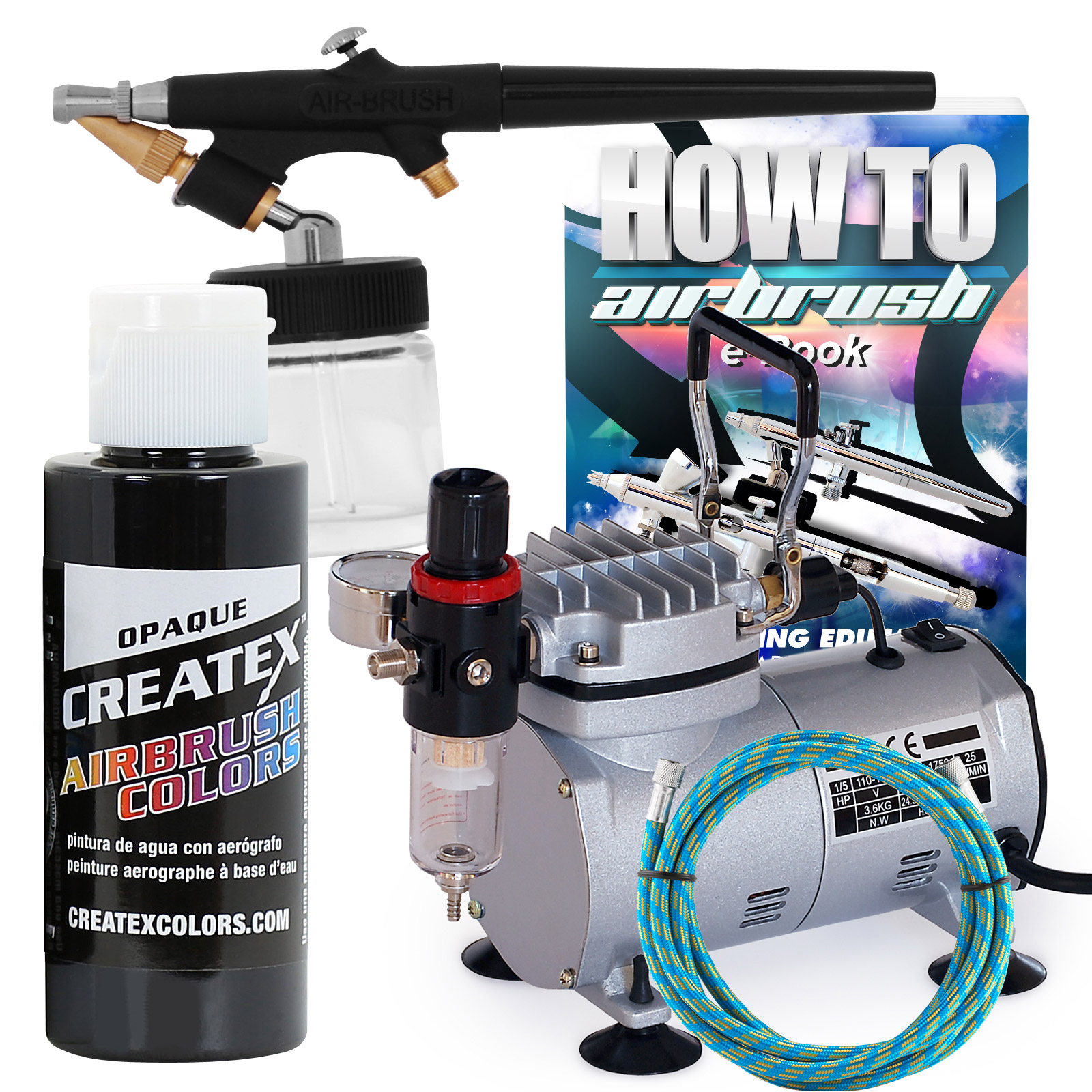 1//5 HP 58 PSI Oil-Free Airbrush Compressor Paint kit Auto New Free Shipping